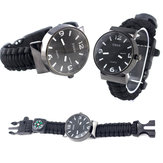 IPRee® 5 In 1 EDC Survival Compasss Bransoletka Watch Camp Emergency Nylon Paracord Wristband