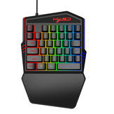 HXSJ V100-2 35 keys One-handed Membrane Keyboard Mini USB Wired RGB Backlight Single Hand Gaming Keypad for PC Gamer