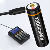 1 Uds BESTON Type-C carga directa 3500 mAh / 5000 mAh 18650/21700 Batería USB recargable de litio Batería para energía de linterna herramientas