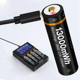 1 stk BESTON Type-C direkte opladning 3500mAh / 5000mAh 18650/21700 Batteri USB genopladeligt lithiumbatteri til lommelygte elværktøj