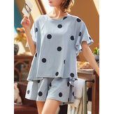 Women Polka Dot Print Round Neck Short Sleeve Shorts Casual Pajama Sets