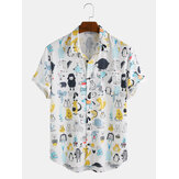 Mens Fashion Cartoon Print Turn Down Collar Camisas de manga curta