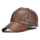 Erkek Hakiki Deri Kulaklı Kanat Ayarlanabilir Kalınlaşmış Beyzbol Şapkası Vintage Şapka