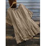 100% βαμβακερή στρογγυλή λαιμόκοψη απλή και άνετη μπλούζα με δαντέλα