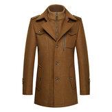 Unique Collar Warm Wool Trench Fashion Zipper Button Jacket