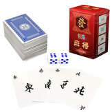 Draagbare Mah Jong 144 Papier MahJong Chinese speelkaarten Game Travel Set Met Dice
