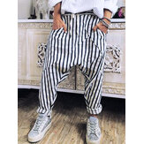 Women Casual Striped Elastic Waist Trouser Pants
