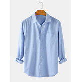Mens Striped Style Flax Pocket Long SLeeve Casual Shirts