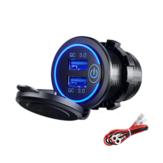 12-24V QC 3.0 Carregador USB duplo rápido Touch Switch à prova d'água acessório para motocicleta, caminhão e barco