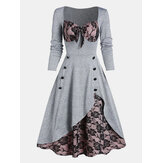 Kobiety Bowknot Lace Patchwork Square Collar Vintage Skater Dress