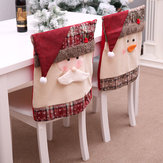 Santa Claus Embroidered Chair Back Cover for Christmas Kitchen Dinner Chair Covers Decorations