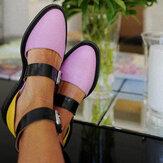 Femmes Colorblock Slip Resistant Boucle Appartements Élégants