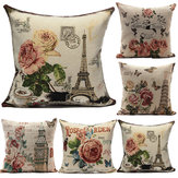 European Style Flower Eiffel Tower Printed Pillow Case Home Decor
