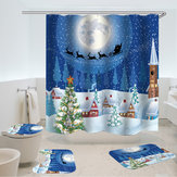 180x180 Christmas Style Gifts 4 PCS Shower Curtain Set Waterproof Bathroom Curtain