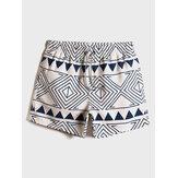 Mens Tribal Шаблон Свободные тонкие праздничные шорты с принтом и кулиской на талии Пляжный Board Shorts