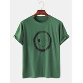 Mens Casual Smile Cartoon 100% Cotton Round Neck T-Shirts