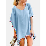 Women Tassel Bat Sleeve Solid Color Sun Protection Cover Ups