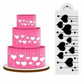 Heart Side Cake Stencil Fondant Ontwerper Decoratie Craft Cookie Baking Tool