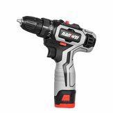 Nanwei 18V Brushed Impact Drill 27N/M Li-ion Rechargeable Electric Flat Drill Screw Driver 2 Speeds 25+3 Gears + 2 Battery