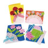 MEIKE M1418 DIY Juego de tarjetas de felicitación hechas a mano del día de la madre Papel de flores Aniversario Cumpleaños Tarjetas de acción de gracias Regalos para Mujer Madre Mamá