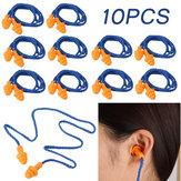 10 أزواج Soft سيليكون سدادات أذن قابلة لإعادة الاستخدام لحماية السمع أثناء النوم والضوضاء الصاخبة أثناء السفر ودراسة سدادات الأذن بحبل