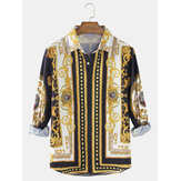 Baroque Print Mens Long Sleeve Button Up Ethnic Style Shirts