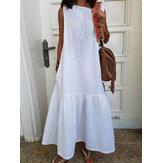Mujer sin mangas con cuello en O algodón sólido Maxi Vestido