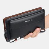 Pochette da trasporto casual con manico per il trasporto in pelle ad alta capacità da uomo in pelle PU Borsa Porta carte di credito