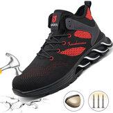 Hommes femmes chaussures de sécurité embout en acier chaussures de travail maille anti-dérapant baskets marche randonnée Jogging chaussures de course