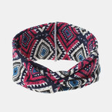 Women Bohemian Style Diamond Lattice Pattern Casual Outdoor Headdress Elastic Cross Tie Wide Brim Headband