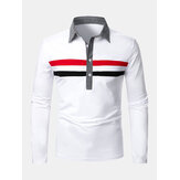 Mens Two-Color Stripes Revers Casual Langarm Golf Shirts