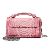 Women Snake Skin Genuine Leather Chain Shoulder Bag Crossbody Bag Handbag Long Wallet
