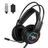 WH H200 Игровая гарнитура 7.1 Виртуальный объемный звук 50 мм Блок динамический дыхательный свет RGB Наушники всенаправленные Микрофон