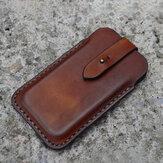 Mænd ægte læder Retro solid 6,3 tommer telefon taske talje taske med bæltestrop