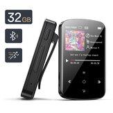 BENJIE M9 32GB Mini USB MP3 Sport وسائط متعددة Player 1.5 بوصة اللون شاشة لاسلكي بلوتوث 4.2 مع مشبك محمول TF بطاقة فتحة