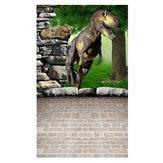 3x5FT Vinil Dinosour Parede de Tijolo Chão Fotografia Cenário de Fundo Estúdio Prop