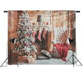 7x5ftクリスマス暖炉クリスマスツリーチェアギフトストッキング写真背景スタジオプロップ背景