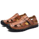 Von Hand genähter Zehenhaken aus echtem Leder Sandalen