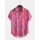 Mens Casual Cartoon Print Summer Hawaii Beach Short Sleeve  Shirts