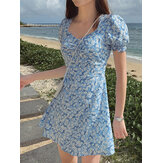 100% Polyester Pleating Floral Summer Dress For Women