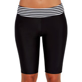 Women's Black Long-Length Striped Boxer Swimmwear Trunks