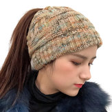 Female Warm Knitted Hat Striped Ponytail Headband Woolen Cap