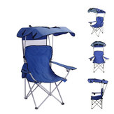 IPRee® Folding Recliner Chair Camping Portable Picnic BBQ Stool Fishing Seat with Shade and Cup Holder Sun Canopy Outdoor