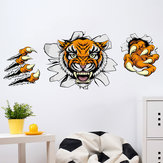 Creative Company Office Decorações Wall Stickers Domineering 3D Tiger Broken Wall 30 * 90CM
