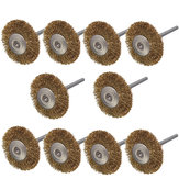 10pcs 3mm Shank Brass Wire Wheel Brushes for Dremel Rotary Tool