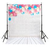 MOHOO 5x7FT Colorful Balloon Wood Floor Silk Backdrop Photography Background Studio Prop