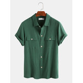 Mens Cotton Dual Pockets Solid Color Turn Down Collar Short Sleeve Shirts