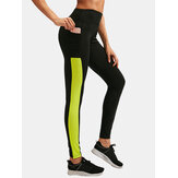 Women Contrast Color Quick Dry Moisture Wicking Pocket Sport High Waist Pants