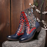 SOCOFY Retro Folkways Pattern Embossed Genuine Leather Stitching Lace Up Zipper Flat Short Boots
