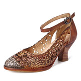 SOCOFY Retro Adjusatble Buckle Strap Hollow Pattern Embossed Pointed Leather Eleagant Pumps
